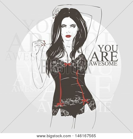 Beautiful Young Women With Long Dark Hair In A Black Corset. Vector Hand Drawn Illustration.