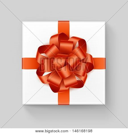 Vector White Square Gift Box with Shiny Orange Ribbon Bow Close up Top view Isolated on Background