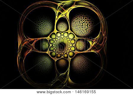 Abstract Fractal Old Gold Geometric Yellow Red And Green Image