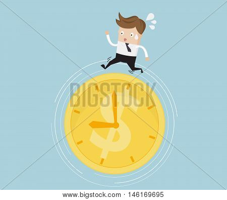Businessman Running on Money Coin Clock Time is Money Concept Vector Illustration