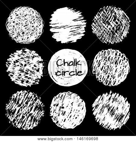 Hand drawn chalk lines scribbles circles different textures vector set. Grunge shapes. Vector design elements collection.
