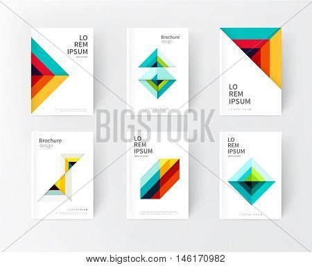 Cover design templates. Minimalistic design, creative concept, modern diagonal abstract background Geometric element. Blue,yellow and red diagonal lines & triangles. vector-stock illustration