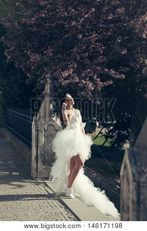 Wedding Sexy Woman With Blooming Tree