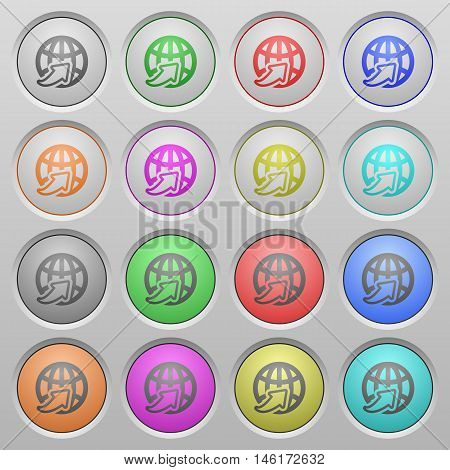 Set of worldwide plastic sunk spherical buttons.