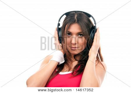 Teenage Girl Listen Music In Headphones