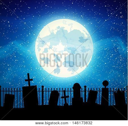 Graveyard cemetery tomb with full moon, Halloween background, vector illustration