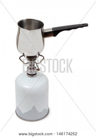 Metal burner gas and pan on a white background