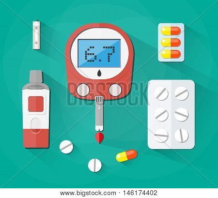 Blood Glucose Test, test strip and pills, Diabetes set. vector illustration in flat style on green background