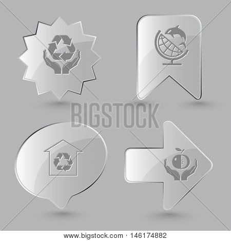 4 images: protection nature, globe and shamoo, protection of nature, apple in hands. Ecology set. Glass buttons on gray background. Vector icons.