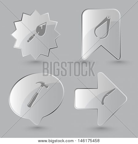 4 images: trowel, caliper, hammer, hand saw. Industrial tools set. Glass buttons on gray background. Vector icons.