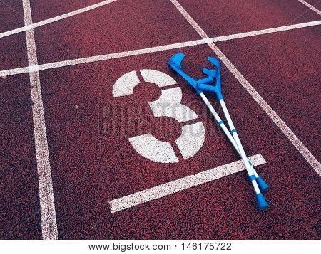 Medicine Crutch For Broken Leg. Number Three. Big White Track Number Three