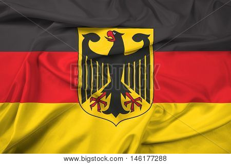 Waving Flag Of Germany With Coat Of Arms