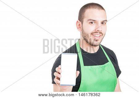 Male Employee Showing Blank White Screen Phone