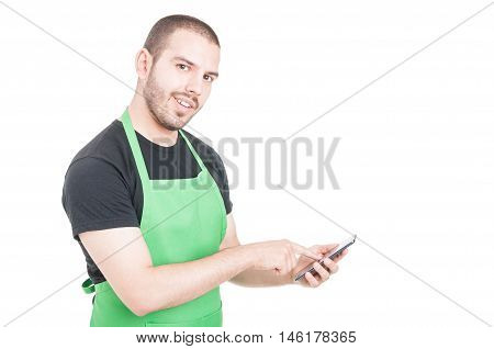 Young Employee Texting On Phone And Smiling