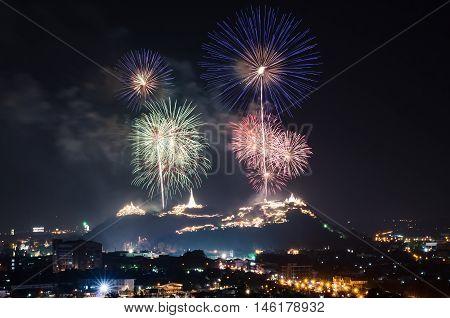 Fireworks celebration festival above Phra Nakhon Khiri in phetchaburi province thailand