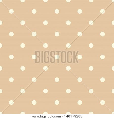 Vintage Orange Seamless Pattern with Yellow Polka Dots. Vector illustration vintage and retro style texture.