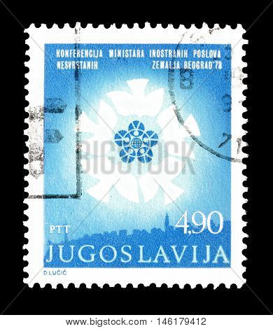 YUGOSLAVIA - CIRCA 1978 : Cancelled postage stamp printed by Yugoslavia, that shows Non aligned Countries Conference logo.