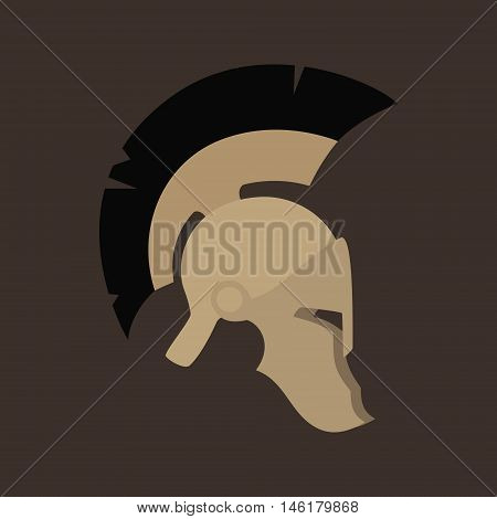 Antiques Roman or Greek Helmet Isolated, Helmet with a Black Crest of Feathers or Horsehair with Slits for the Eyes and Mouth ,Vector Illustration