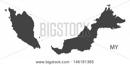 Malaysia grey map isolated vector high res