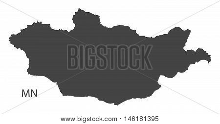 Mongolia grey map isolated vector high res