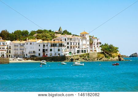 Seaside view of famous mediterranean town Cadaques, former residence of Salvador Dali, Catalonia