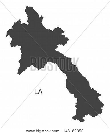 Laos grey map isolated vector high res