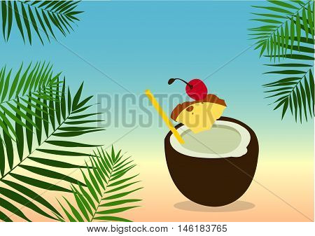 Summer Background with Palm Leafs and Pina Colada Cocktail. Vector illustration with summer theme bright shades of colors.