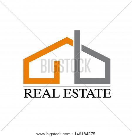Vector sign strip house orange and gray