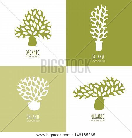 Vector hand drawn tree logo or emblem design elements. Set of abstract green tree icons. Concept for natural organic products ecology environmental. Doodle flat illustration.