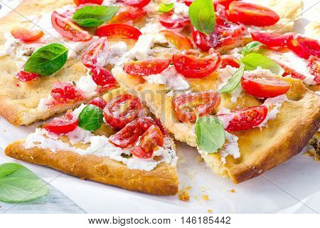 Italian Focaccia With Tomatoes, Cream Cheese And Basil