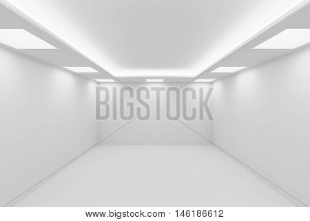 Abstract architecture white room interior - empty white room with white wall white floor white ceiling with square ceiling lights and hidden ceiling lamps and empty space 3d illustration