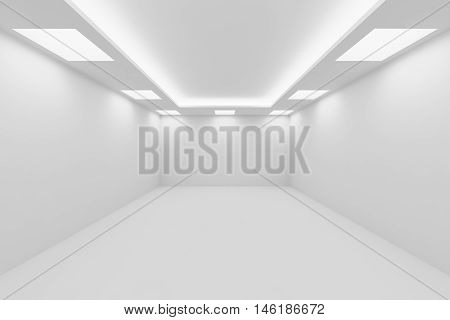 Abstract architecture white room interior - empty white room with white wall white floor white ceiling with square ceiling lamps and hidden ceiling lights perspective view 3d illustration
