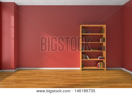 Empty room with red wall wooden parquet floor and wooden bookshelf with many color books on shelves with light from window on red wall and parquet floor minimalist interior 3D illustration