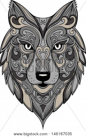 Vector hand drawn doodle wolf head illustration. decorative wolf head drawing