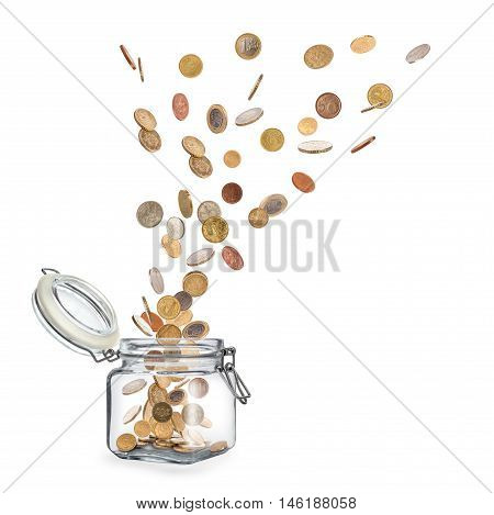 coins fly out of glass jars isolated on a white background
