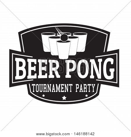 Beer Pong Tournament,party Label Or Stamp