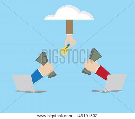 hand use money purchasing idea from laptop with cloud online business concept vector illustration