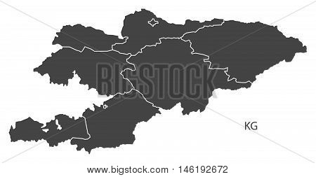 Kyrgyzstan grey map with regions isolated vector high res
