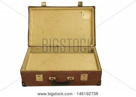 suitcase old travel isolated on white background
