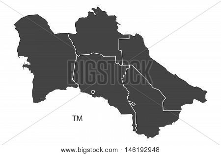 Turkmenistan grey map with regions isolated vector high res