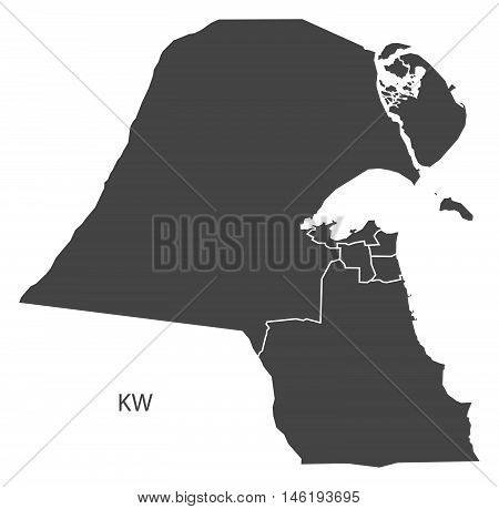 Kuwait grey map with regions isolated vector high res