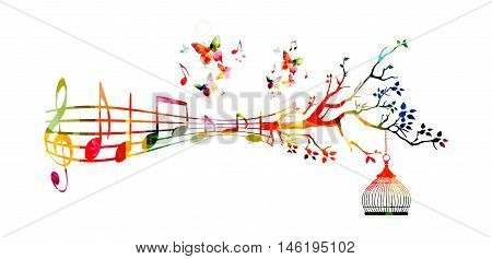 Creative music style template vector illustration, colorful  music staff with notes background.