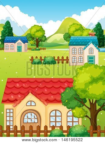 Neighborhood with many houses illustration