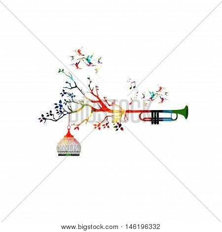 Creative music style template vector illustration, colorful trumpet, nature inspired instrument background with birds.