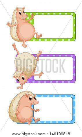 Label design with hedgehogs illustration