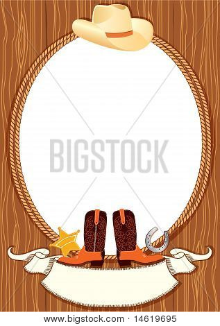 Cowboy Poster Background For Design With Cowboy Elements.vector