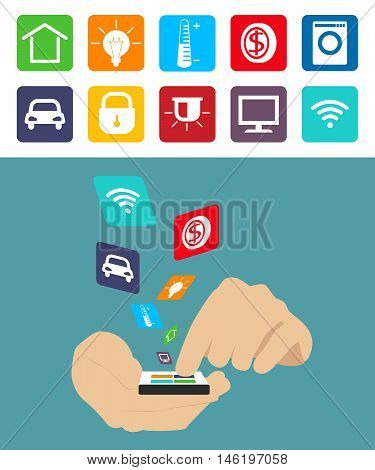 Smart technology . Smart House. Flat infographics colored icons