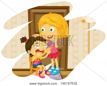 Big sister cheers up when little sister crying illustration