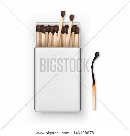 Vector Opened Blank Box Of Brown Matches with Burned Match Top View Isolated on White Background