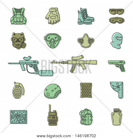 Vector set of black flat colored icons for paintball and airsoft equipment and outfit. Collection isolated on white background